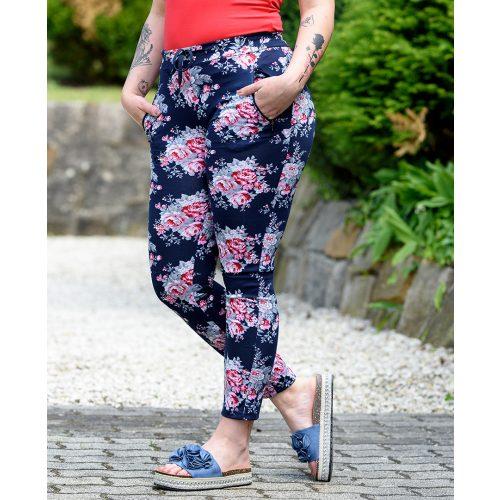 Extra méretű kék pink virágmintás nadrág (M/L-XXL/XXXL)
