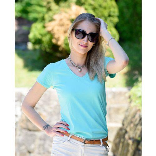 Egyszínű V-kivágású világoskék póló (36-40)