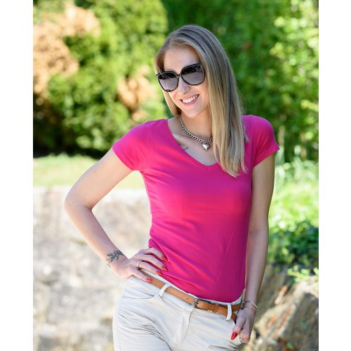 Egyszínű V-kivágású pink póló (36-40)