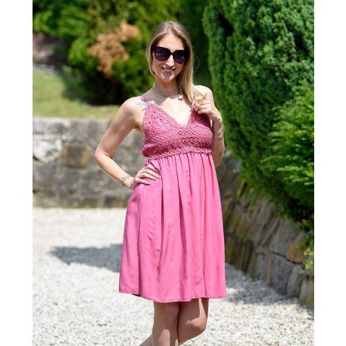 Állítható pántos csipkés pink pamut ruha (M/L-XL/XXL)
