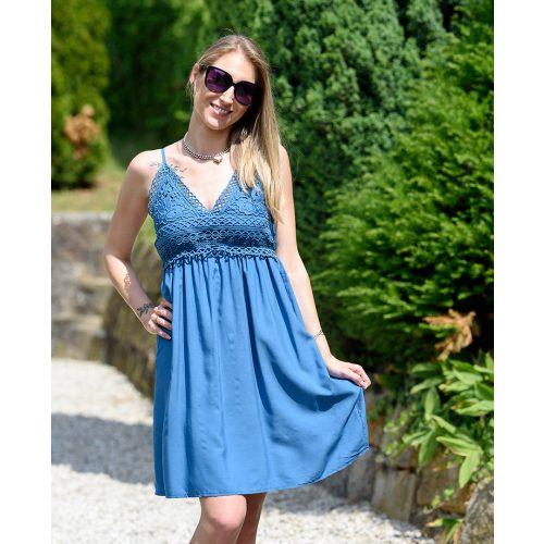 Állítható pántos csipkés kék pamut ruha (M/L-XL/XXL)
