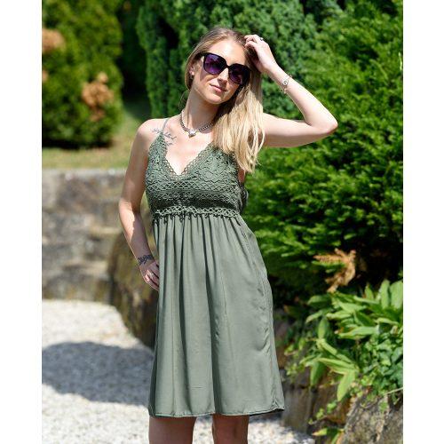 Állítható pántos csipkés sötétzöld pamut ruha (M/L-XL/XXL)