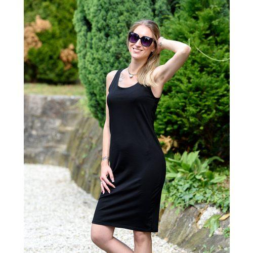Pántos egyszínű fekete ruha (S/M-L/XL)