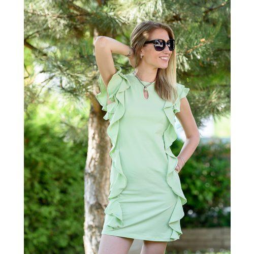 Oldalán fodros zöld ruha (S/M-L/XL)