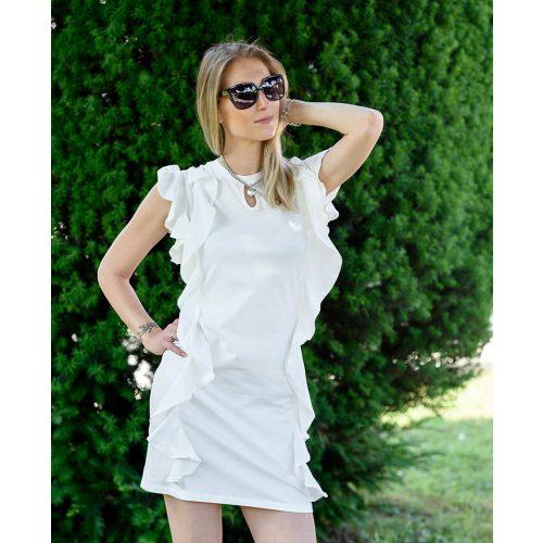 Oldalán fodros fehér ruha (S/M-L/XL)