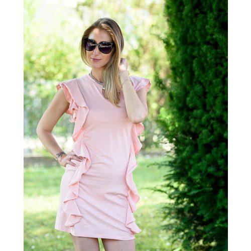 Oldalán fodros rózsaszín ruha (S/M-L/XL)