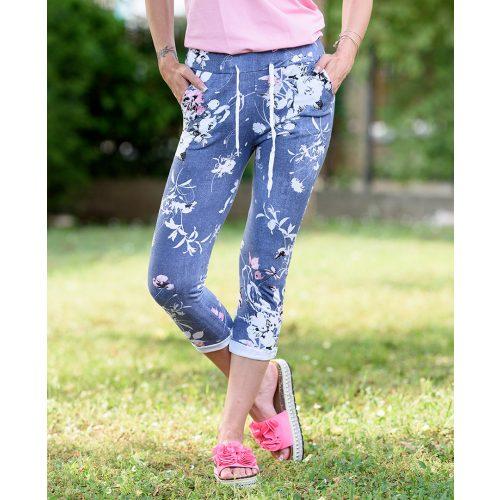 Farmerkék rózsaszín virágos nadrág (S-L)
