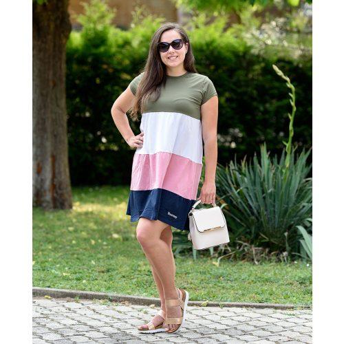Csíkos színes ruha (zöld-fehér-rózsaszín-kék) (S-L)