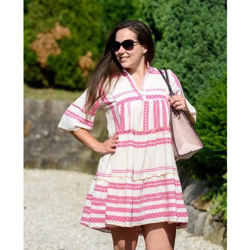 Vászon rózsaszín mintás ruha (S-L)
