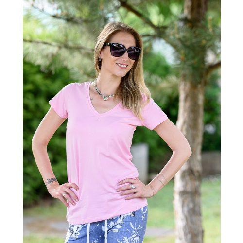 Egyszínű V-kivágású rózsaszín póló (36-40)