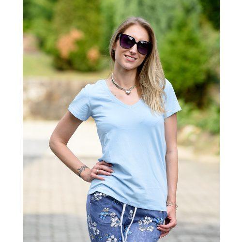 Egyszínű V-kivágású kék póló (36-40)
