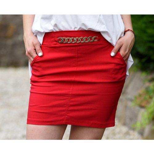 Deréknál láncdíszes piros szoknya (S-M)