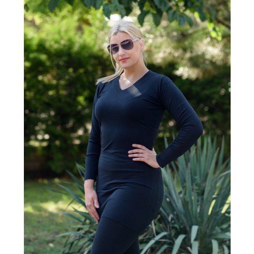 Vékony kötött fekete hosszú ruha (S/M-L/XL)