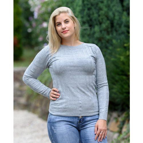 Görögmintás kötött szürke pulóver (S/M-L/XL)