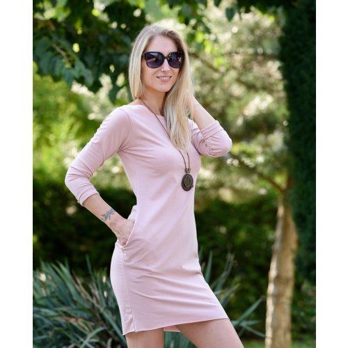 Hosszú ujjú zsebes rózsaszín ruha (S-M)