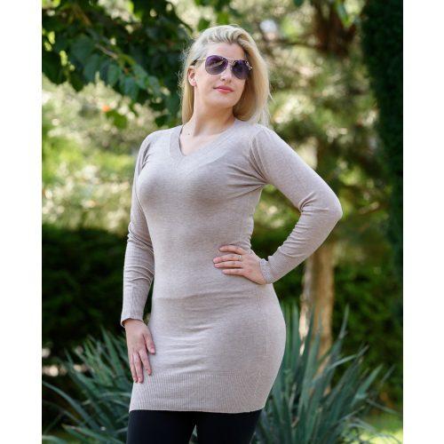 Vékony kötött bézs hosszú ruha (S/M-L/XL)