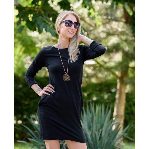 Hosszú ujjú zsebes fekete ruha (S-M)