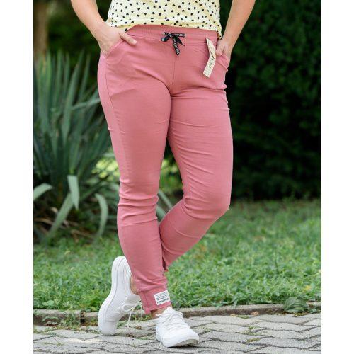 Vékony gumis derekú rózsaszín nadrág (M-XXL)