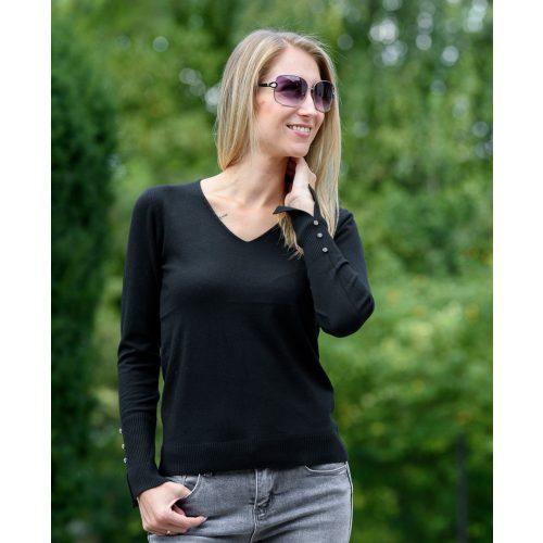 V-kivágott vékony fekete pulóver (S/M-L/XL)