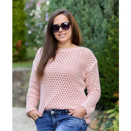 Lyukacsos rózsaszín kötött pulóver (M-XL)