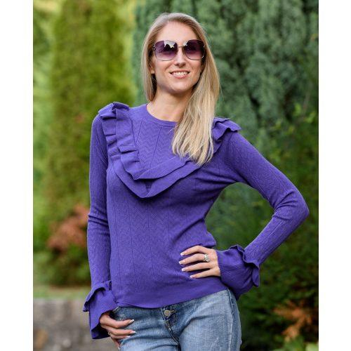 Fodros lila kötött pulóver (S/M-L/XL)