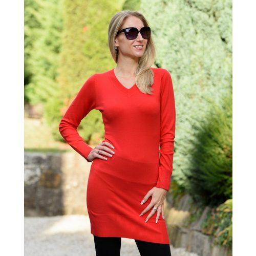 Vékony kötött piros hosszú ruha (S/M-L/XL)