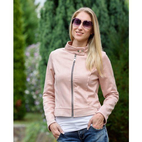 Kerek galléros rózsaszín velúrkabát (M-XL)