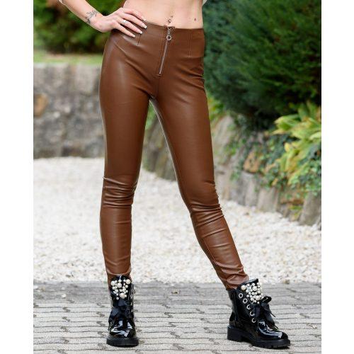 Barna zipzáras bőrhatású nadrág (S-XL)