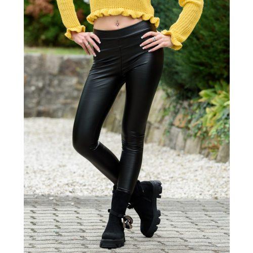 Bőrhatású bélelt fekete nadrág (S/M-XXL/XXXL)