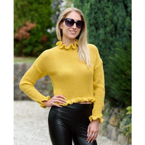 Fodros nyakú kötött sárga pulóver (S-M)