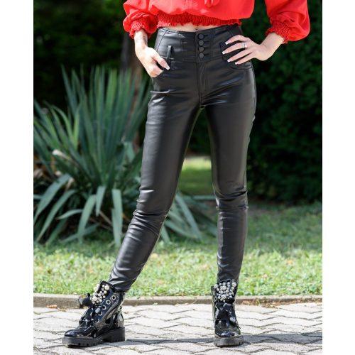 Magas derekú bőrhatású nadrág (S-XL)