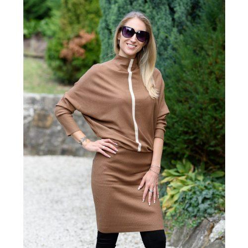 Kötött barna ruha csíkkal (S/M-L/XL)