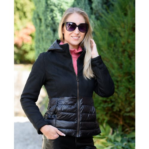 Velúr fekete kabát dzsekis berakással (S-XXL)