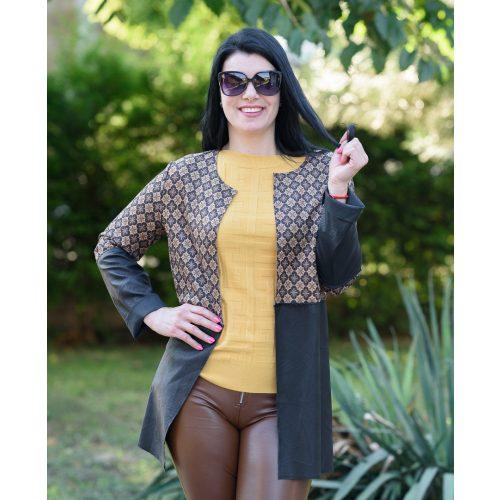 Nyitott barna mintás bőrhatású kabát (M-L)