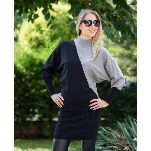 Kötött szürke-fekete ruha (S/M-L/XL)