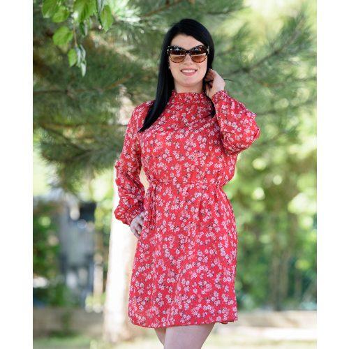 Piros ruha fehér virágmintával (M-L)