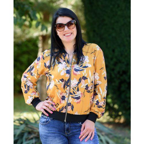 Virágmintás sárga zipzáras pulóver (S-L)