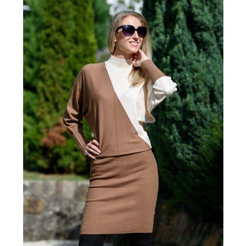 Kötött fehér-barna ruha (S/M-L/XL)