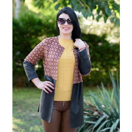 Nyitott narancssárga mintás bőrhatású kabát (M-L)