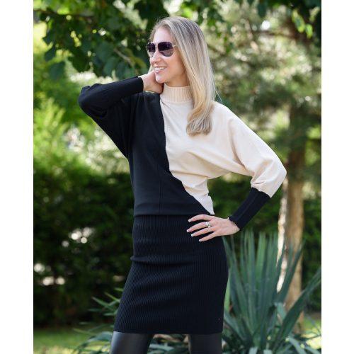 Kötött bézs-fekete ruha (S/M-L/XL)