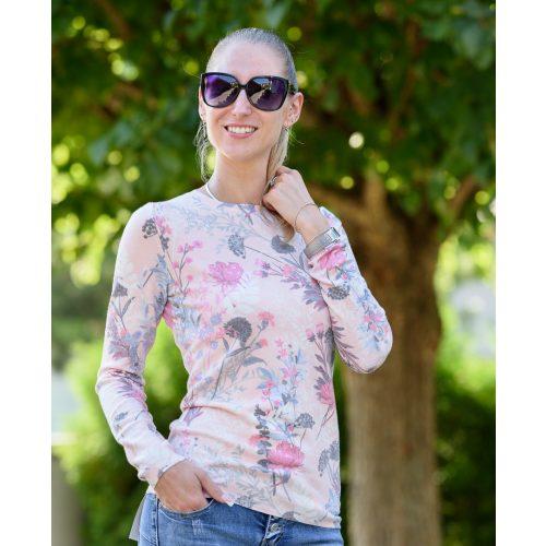 Virágmintás rózsazín kötött pulóver (S/M-L/XL)