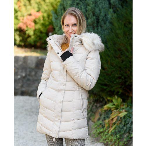Derekán mintás bézs kabát (S-XXL)