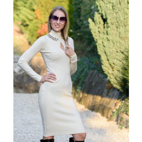 Csepp kivágású tört-fehér ruha nyaklánccal (S/M-L/XL)