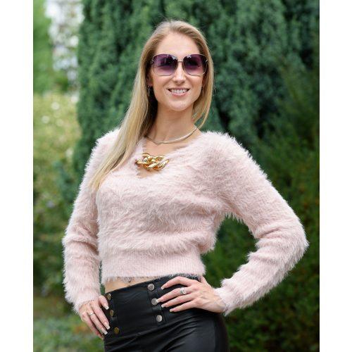 Szőrös rózsaszín pulóver lánccal (S-M)