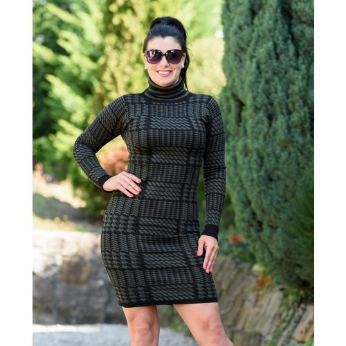 Pepita mintás fekete-zöld kötött ruha (S/M-L/XL)