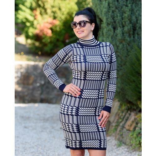 Pepita mintás kék-fehér kötött ruha (S/M-L/XL)
