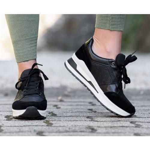 Magastalpú fekete sportcipő (36-41)
