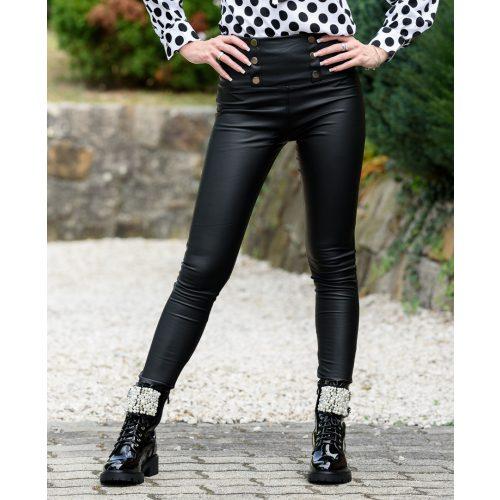 Magas derekú fekete patentos bőrnadrág (S-XXL)