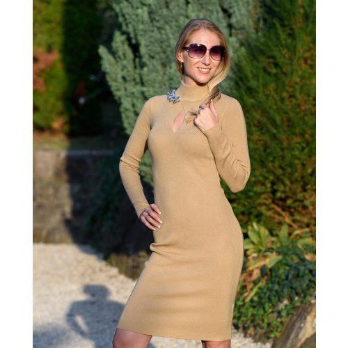 Csepp kivágású barna ruha nyaklánccal (S/M-L/XL)