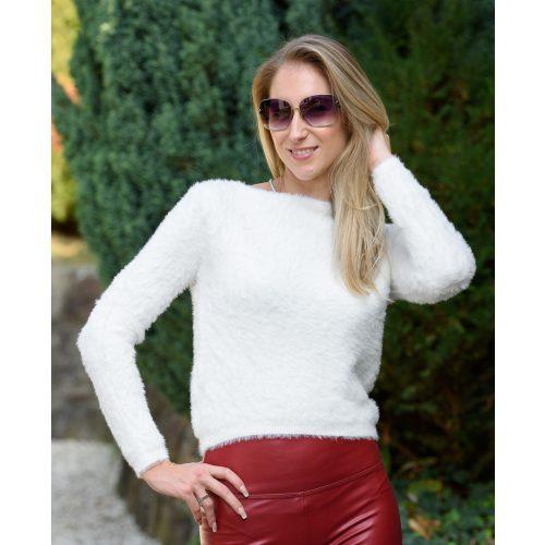 Szőrös fehér pulóver (S-M)